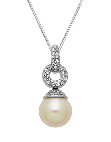 LORD & TAYLOR Sterling Silver Necklace with Freshwater Pearl and Diamond Pendant