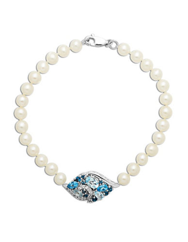 LORD & TAYLOR Sterling Silver Freshwater Pearl and Blue Topaz Bracelet