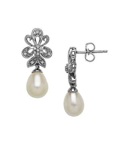 LORD & TAYLOR Sterling Silver Frewshwater Pearl & Diamond Drop Earrings