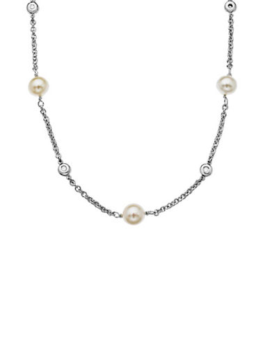 Lord & Taylor Sterling Silver Diamond and Freshwater Pearl Necklace