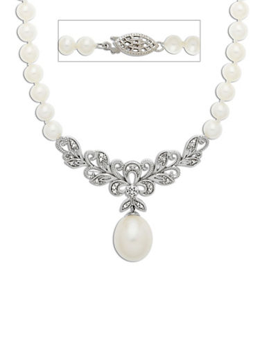 LORD & TAYLOR Sterling Silver Freshwater Pearl and Diamond Necklace