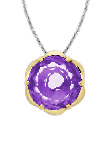 LORD & TAYLOR Sterling Silver Necklace with 14Kt Yellow Gold Amethyst Pendant