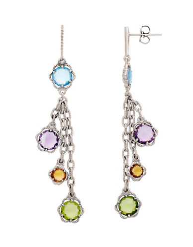 LORD & TAYLOR Sterling Silver Peridot Amethyst Swiss Blue Topaz and Citrine Drop Earrings