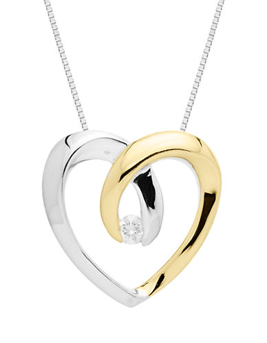 LORD & TAYLORSterling Silver with 14Kt. Yellow Gold Diamond Heart Pendant