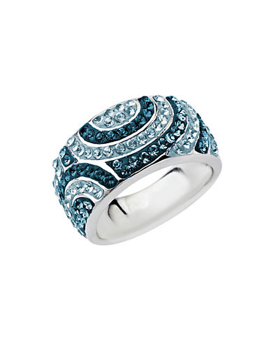 LORD & TAYLOR Sterling Silver Multi-Colored Blue Crystal Ring