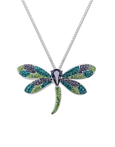 LORD & TAYLORSterling Silver Multi-Color Crystal Dragonfly Necklace