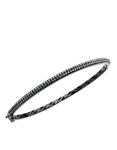LORD & TAYLOR Sterling Silver and Black Rhodium Crystal Bangle Bracelet