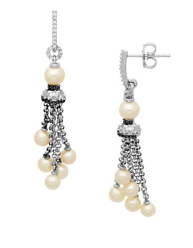 LORD & TAYLORSterling Silver Pearl and Diamond Tassel Drop Earrings .14 CTW