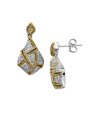 LORD & TAYLOR Sterling Silver with 14Kt. Yellow Gold Diamond Drop Earrings