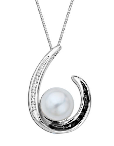 LORD & TAYLORSterling Silver Necklace with Pearl, Black and White Diamond Pendant