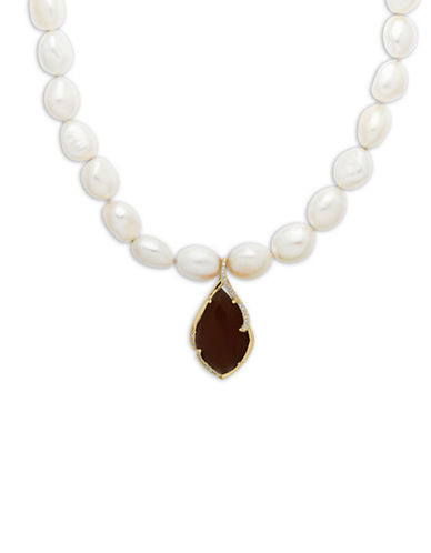 Lord & Taylor Freshwater Pearl Necklace with Smoky Quartz and Diamond Pendant
