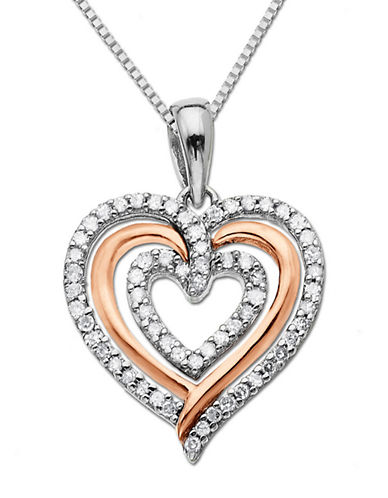 LORD & TAYLORSterling Silver Necklace with 14Kt. Rose Gold Diamond Heart Pendant