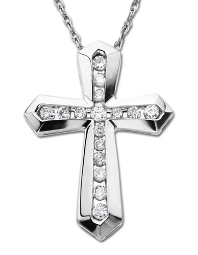 LORD & TAYLOR Sterling Silver Cross Pendant Necklace with Diamond Accents