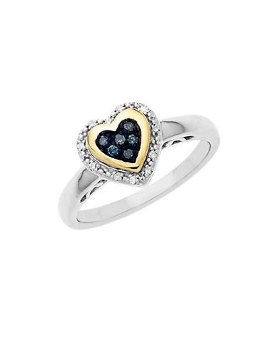 LORD & TAYLORSterling Silver with 14Kt. Yellow Gold Green Blue Diamond Heart Ring