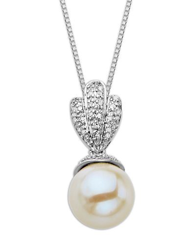 LORD & TAYLOR Sterling Silver Necklace with Pearl and Diamond Pendant