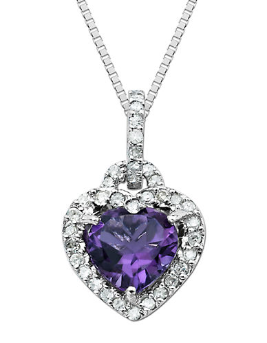 LORD & TAYLOR Sterling Silver Necklace with Amethyst & Diamond Heart Pendant