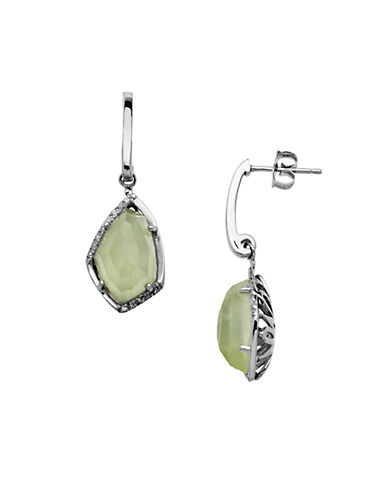 LORD & TAYLOR Sterling Silver Pyrite Drop Earrings with Diamonds