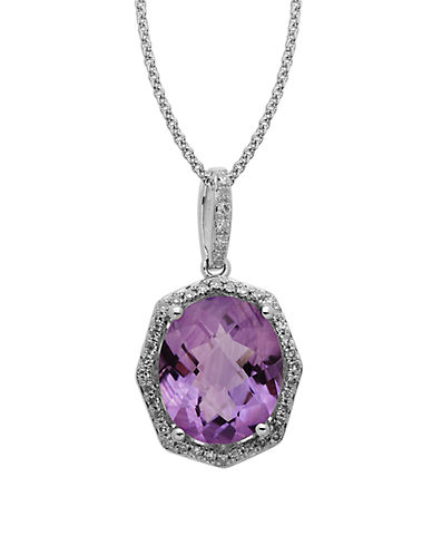 Lord & Taylor Sterling Silver Light Amethyst and Diamond Pendant Necklace