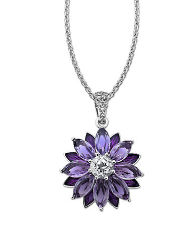 LORD & TAYLOR Sterling Silver Necklace with Amethyst and White Topaz Flower Pendant
