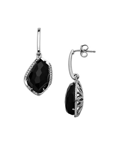 LORD & TAYLOR Sterling Silver Black Onyx and Diamond Drop Earrings