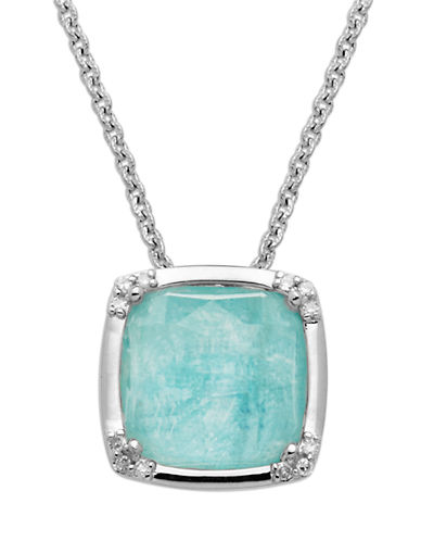Lord & Taylor Sterling Silver Necklace with Amazonite and Diamond Pendant