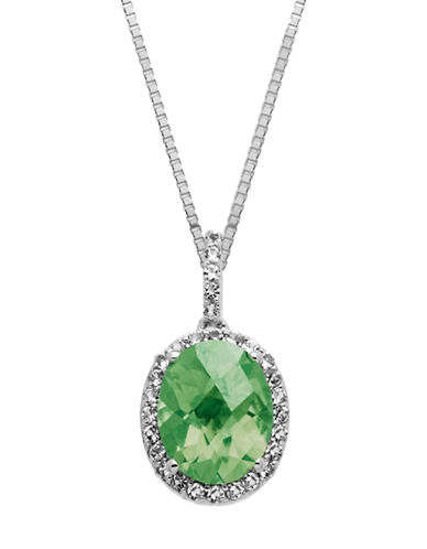 LORD & TAYLOR Sterling Silver and Green Amethyst Pendant Necklace
