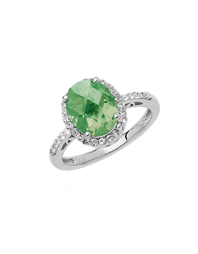 LORD & TAYLOR Sterling Silver Green Amethyst Ring with White Topaz Halo