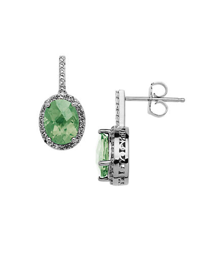 LORD & TAYLOR Sterling Silver Green Amethyst Drop Earrings with White Topaz Halo