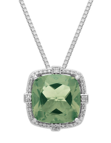 LORD & TAYLOR Sterling Silver Green Amethyst & Diamond Pendant Necklace