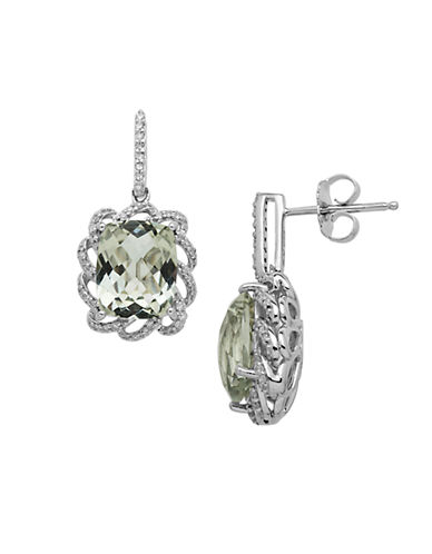 LORD & TAYLOR Sterling Silver Green Amethyst and Diamond Earrings