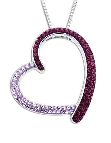 LORD & TAYLORSterling Silver Dark and Light Purple Crystal Open Heart Pendant Necklace