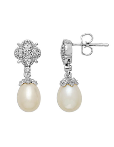 LORD & TAYLORSterling Silver Freshwater Pearl and Diamond Drop Earrings