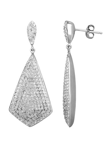 LORD & TAYLOR Sterling Silver White Crystal Drop Earrings