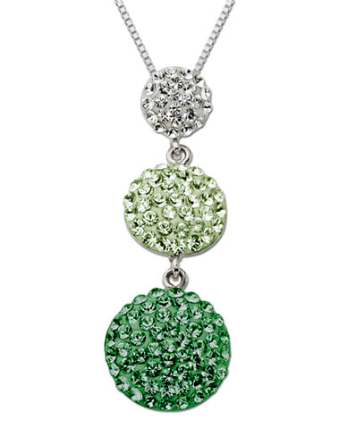 LORD & TAYLORSterling Silver Two-Tone Green & White Pave Crystal Pendant Necklace