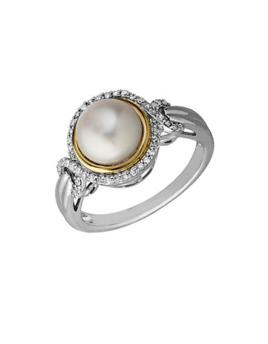 LORD & TAYLOR Sterling Silver and 14Kt. Yellow Gold Freshwater Pearl and Diamond Ring