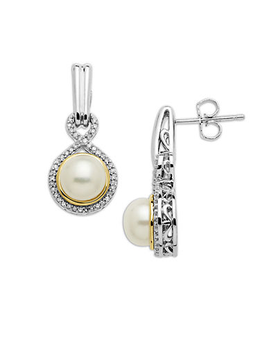 LORD & TAYLOR Sterling Silver and 14Kt. Yellow Gold Freshwater Pearl and Diamond Drop Earrings