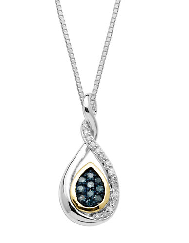 LORD & TAYLOR Sterling Silver with 14Kt. Yellow Gold Green and White Diamond Pendant Necklace