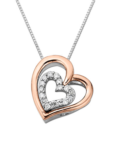LORD & TAYLORSterling Silver Necklace with 14Kt. Rose Gold and Diamond Two Hearts Pendant