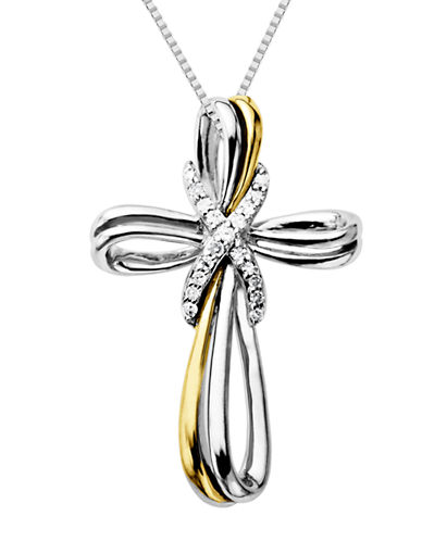 LORD & TAYLORSterling Silver Necklace with 14Kt. Yellow Gold & Diamond Cross Pendant