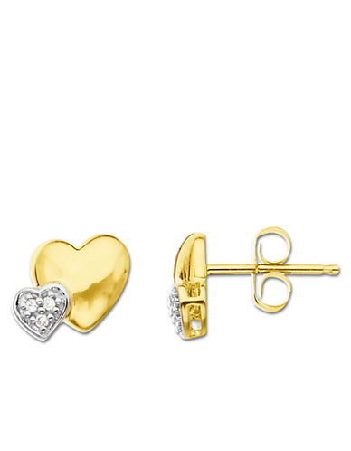 LORD & TAYLOR Diamond Heart 14K Yellow Gold Earrings