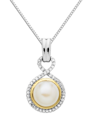 LORD & TAYLOR Sterling Silver and 14Kt. Yellow Gold Freshwater Pearl and Diamond Pendant Necklace