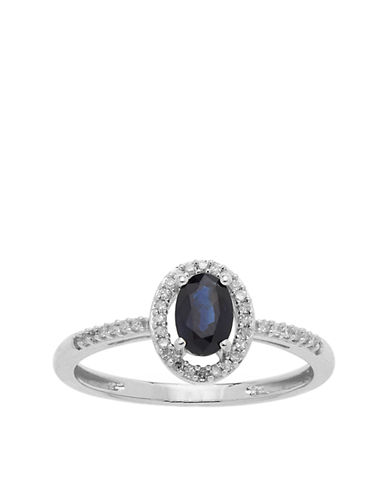 LORD & TAYLOR14Kt. White Gold and Sapphire Ring with Diamond Accents
