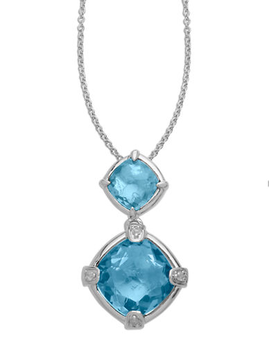 LORD & TAYLORSterling Silver Multi Blue Topaz & Diamond Pendant Necklace