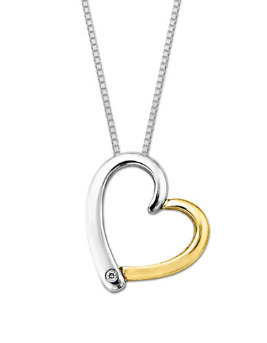 LORD & TAYLOR Sterling Silver and 14 Kt. Yellow Gold Diamond Heart Pendant