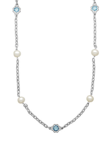 LORD & TAYLOR Sterling Silver Pearl and Blue Topaz Station Necklace