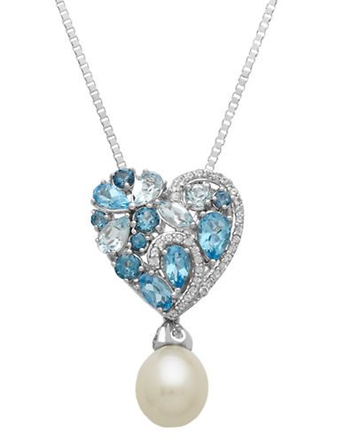 LORD & TAYLOR Sterling Silver Pearl and Topaz Heart Pendant Necklace