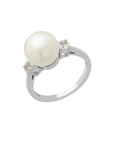 LORD & TAYLOR Sterling Silver Pearl and White Topaz Ring
