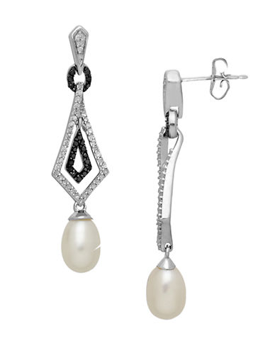LORD & TAYLOR Sterling Silver Pearl and Black Diamond Drop Earrings