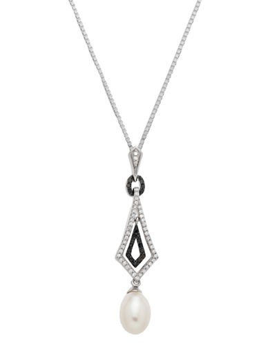 LORD & TAYLORSterling Silver Necklace with Pearl & Black Diamond Pendant