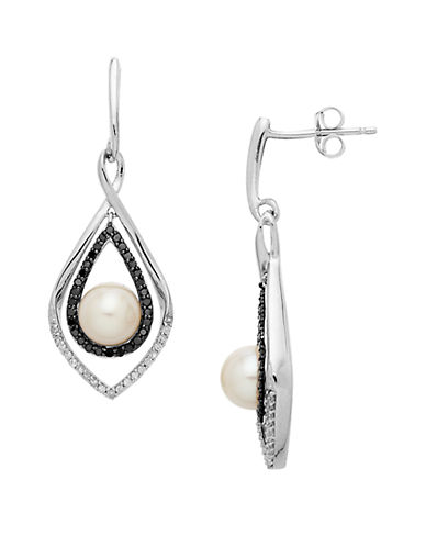 LORD & TAYLORSterling Silver Pearl and Black Diamond Drop Earrings